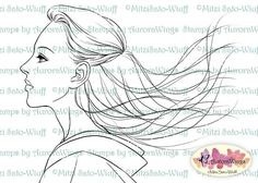 Digital Stamp Instant Download - Windswept - Japanese Girl in Kimono with Wind in Her Hair - Line Art for Cards & Crafts by Mitzi Sato-Wiuff