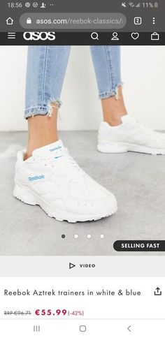 Reebok Aztrek trainers in white & blue Off Duty, Reebok, Trainers, Shop Now, Your Style, Asos, Sneakers, Blue, Fashion