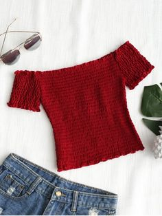 777c14012a Shirred Off Shoulder Cropped Top. Cropped TopBean PasteFashion ...