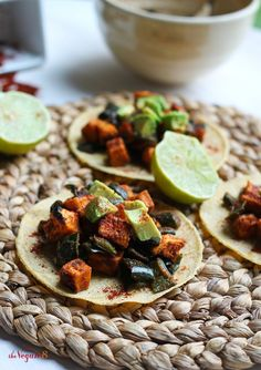 "Just 8 Ingredients for these amazing ""Roasted Poblano Peppers & Sweet Potato Tostadas"""
