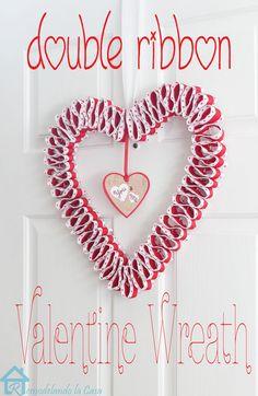 Double Ribbon Valentine Wreath - Pretty Handy Girl