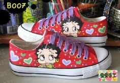 I saw a post featuring Milkshake Betty Boop Sneakers. After doing some more searching I saw that there were quite a few styles of Betty Boo. Bags Online Shopping, Online Bags, Betty Boop Purses, Betty Boop Cartoon, Shoe Boots, Heeled Boots, Betty Boop Pictures, Painted Shoes, Painted Bags