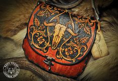 Leather Purse Western Cow Skull Bag