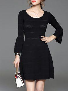 Black Balloon Sleeve Knitted A-line Mini Dress