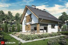 Projekt Konkret III - elewacja domu Atrium, Style At Home, Stone Houses, White Stone, Home Fashion, Exterior Design, Cabin, Mansions, House Styles