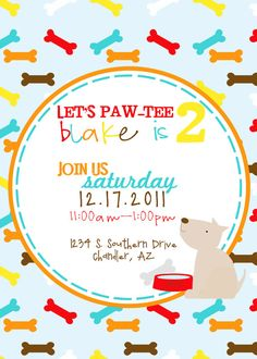 Printable Party Invite - Puppy birthday party or baby shower invite - Fresh Chick Design Studio