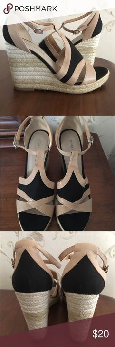 """Black & Tan Wedges Black canvas with Tan leather espadrilles. Jute heel (4.5"""", sole 1""""). Tiny dark spot on front of one shoe (pictured), impossible to be seen by others when worn.  Worn once. True to size and very pretty! Audrey Brooke Shoes Espadrilles"""