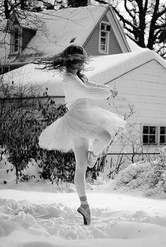 Ballet dancing in snow