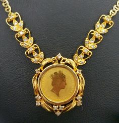 "1990 $5 Australian Nugget 1/20 oz Gold Coin 18"" Necklace Set .50 Carat Diamond  #Handmade #Pendant"