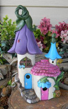 Fairy House  Castle Ceramic   Lily Flower  by EnchantdMushroomLand