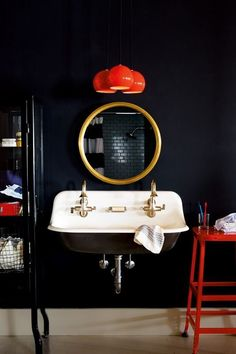 Dark & bright ,antique & modern bathroom