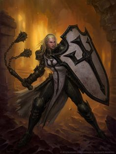 Female Crusader by Glenn Rane by Arsenal21 paladin fighter soldier knight flail shield platemail armor clothes clothing fashion player character npc | Create your own roleplaying game material w/ RPG Bard: www.rpgbard.com | Writing inspiration for Dungeons and Dragons DND D&D Pathfinder PFRPG Warhammer 40k Star Wars Shadowrun Call of Cthulhu Lord of the Rings LoTR + d20 fantasy science fiction scifi horror design | Not Trusty Sword art: click artwork for source