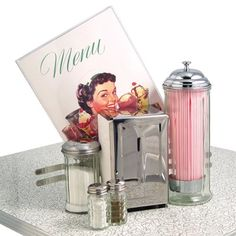 50S Style Diner kitchens | Retro 50s Diner Style Tableware Set Straw Sugar Napkin Dispenser Salt ...