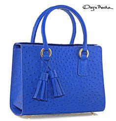 V=Bellevue Box in Blue Ostrich