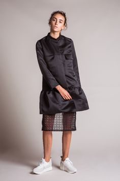 EDIT The Brand SS16 Collection - Black Satin Peplum Longline Bomber Jacket // Black Organza Lace Slim Fit Skirt