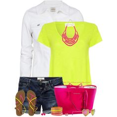 Neons for Summer by stay-at-home-mom Girly Outfits, Pretty Outfits, Cute Outfits, Spring Summer Fashion, Spring Outfits, Kelly Fashion, Women's Fashion, Oufits Casual, Polyvore Outfits