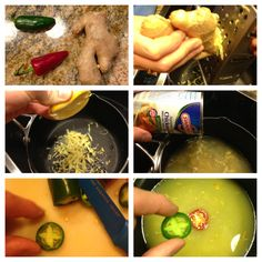 Awesome cold remedy! Drink it and it will clear your nose and warm the body fast! ingredients: fresno peppers,jalapeno peppers, ginger root, lemon juice, chicken broth. Boil it and sip it.