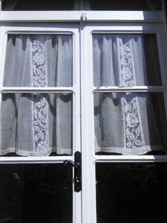 Pair Cotton Lace Net Curtain Panels (2 pairs avail) French Vintage Antique by WindowsOfParis on Etsy