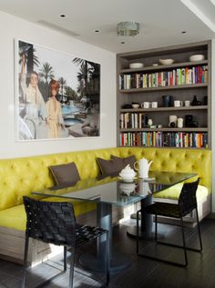 yellow tufted leather sofa