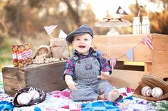 One year old Birthday photo session.  Vintage Baseball.  Baseball baby. Wurzbach Fisher 707.486.9863