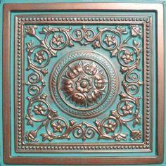 """faux copper patina ceiling tile, 24"""" square"""