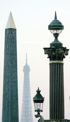 Obelisque Concorde & Eiffel Tower, Paris.