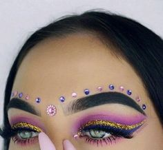 Perfect dramatic makeup for blue eyes pink crease shade with glitter wing and r Concert Makeup Blue crease dramatic Eyes glitter makeup Perfect pink shade wing Makeup Goals, Makeup Inspo, Makeup Inspiration, Beauty Makeup, Makeup Kit, Dramatic Eye Makeup, Blue Eye Makeup, Glitter Makeup, Dramatic Eyes