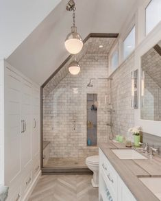 Modern home interiors and design ideas from the best in condos, penthouses and architecture. Plus the finest in home decor and products. Upstairs Bathrooms, Small Bathroom, Bathroom Ideas, Farmhouse Bathrooms, Loft Bathroom, Upstairs Hallway, Bathroom Inspo, Bath Ideas, Modern Bathroom