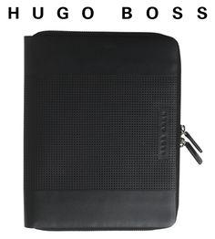 HUGO BOSS - Spot - kožené portfólio A5 so zápisníkom na zips - športový dizajn Hugo Boss, A5, Luxury