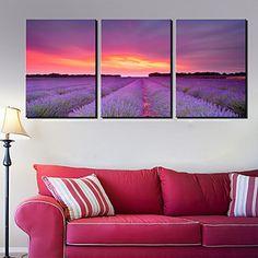 Canvas Art Landscape Lavender Campo Conjunto de 3 - BRL R$ 148,39