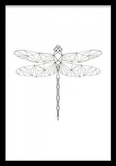 Geometric Dragonfly, poster ryhmässä Julisteet ja printit / Koot / 21x30cm @ Desenio AB (7843)