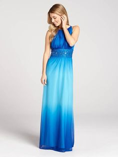 This Grecian-inspired gown will have you looking - and feeling - like a goddess. A beaded waist contours, creating a flattering fit while the ombré fade gives it a fresh, Spring-ready feel....3010103-8559