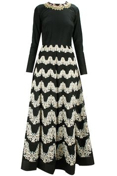 Black contrast embroidered anarkali available only at Pernia's Pop-Up Shop.
