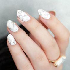 White Marble Nail Art | Lacquerstyle.com | kgrdnr #forever21 #nailart #marblenails #whitemarble #nails #nailartist #kgrdnr #lacquerstyle #chinaglaze Marble Nail Art, Painted Nail Art, Hand Painted, China Glaze, Nail Artist, White Marble, Forever21, Cute Nails, Nail Ideas