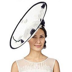 Top Hat by Stephen Jones - Designer cream floral applique upturned saucer fascinator
