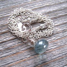 Aquamarine Necklace Little Girl Birthstone by MoonlightDesigns2, $38.00