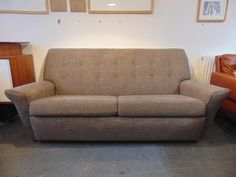 Vintage Mid Century 1950's Button Upholstered, Grey Sofa. Recently reupholstered & Restored Retro Sofa. by KingdomFurnishings on Etsy