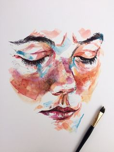 Untitled by Gor Gyurjyan Ink 2018 Watercolor Portraits, Watercolor Art, Painting Inspiration, Art Inspo, Gcse Art Sketchbook, Posca Art, Art Drawings Sketches, Portrait Art, Aesthetic Art