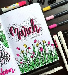 Likes, 85 Comments - She Doodles Bullet Journal Titles, March Bullet Journal, Bullet Journal Cover Ideas, Bullet Journal Banner, Bullet Journal Lettering Ideas, Bullet Journal Notebook, Bullet Journal Aesthetic, Bullet Journal School, Journal Covers