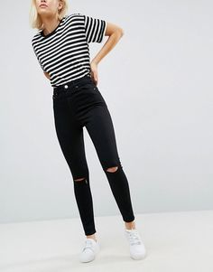 ASOS | ASOS RIDLEY High Waist Skinny Jean In Clean Black With Ripped Knees