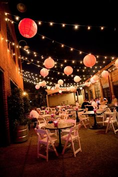 Lanterns hanging from Terrace cafe lights.