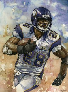 Vikings RB Adrian Peterson watercolor by Michael Pattison