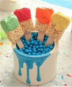 Cute rice crispy treats look like paint brushes