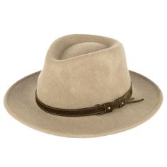 e8732653d8e8d 100% Wool Fedora Hat with Leather Belt Waterproof   Crushable Handmade in  Italy