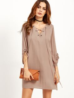 Shop Coffee Lace Up V Neck Tunic Dress online. SheIn offers Coffee Lace Up V Neck Tunic Dress & more to fit your fashionable needs.