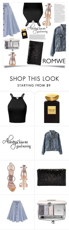 """""""Romwe"""" by violet-peach ❤ liked on Polyvore featuring Giorgio Armani, ASOS, Giuseppe Zanotti and Christian Dior"""