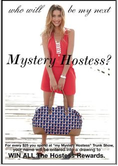 Its mystery hostess time!!! Rules are simple. Shop mystery hostess trunk show between now and August 11, 2014 to qualify. For every $25.00 You spend, your name will be entered into the drawing for a chance to win  all the hostess rewards. Which means free jewelry/ accessories and 50% items.  Here is the link to get you to the right place, http://www.stelladot.com/ts/Op506. Happy shopping & good luck.