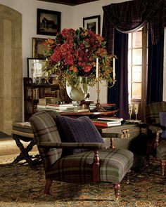 ralph lauren home furnishings - Yahoo Image Search Results My Living Room, Living Area, Living Spaces, Ralph Lauren Home Living Room, Plaid Chair, English Interior, English Country Decor, Interior Decorating, Interior Design
