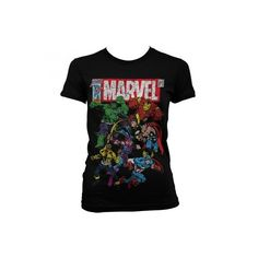Marvel Womens T Shirt -Team Up Avengers (185 DKK) ❤ liked on Polyvore featuring tops, t-shirts, black top, black tee, comic tees, black comic book and cartoon t shirts