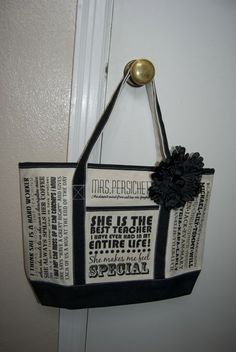 Teacher Tote Bag - with student quotes on it about their teacher